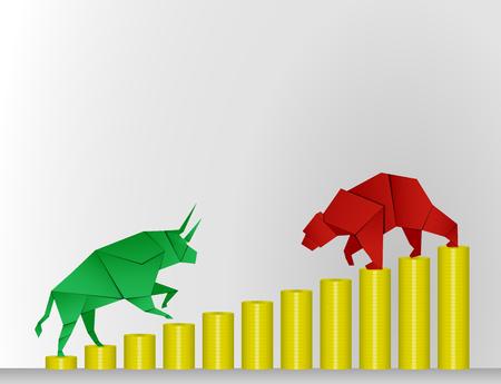 bullish market: Bull and Bear paper art with coin paper art for stock market vector and illustration Illustration