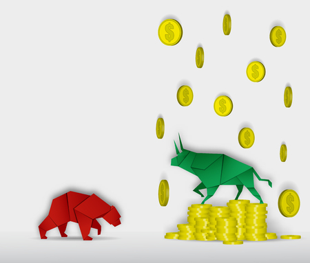 Bull and Bear paper art with coin paper art for stock market vector and illustration Illustration