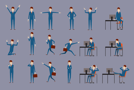 delight: Large vector set of businessman character poses, gestures and actions. Office worker professional standing, walking, talking on phone, working, running, delight, searching, and more.