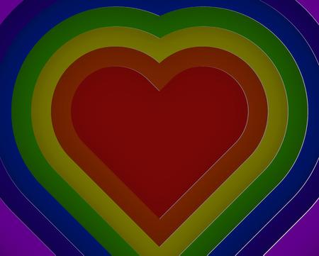 multi layered: 3D rainbow heart layer paper cut style vector illustration Illustration