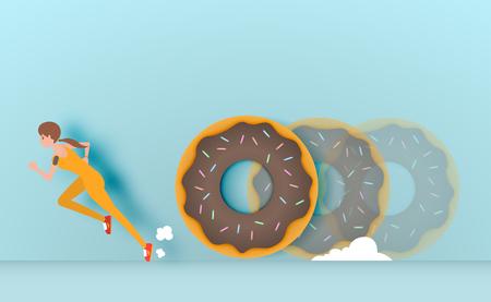 Sport girl runaway from donut vector illustration