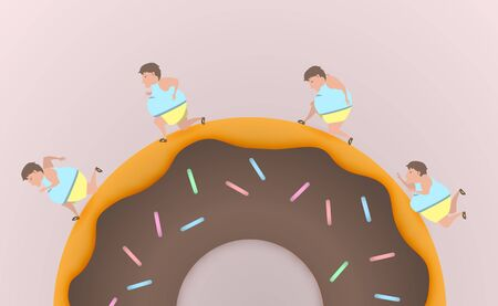 starve: Fat man run on donut and never give up vector illustration Illustration