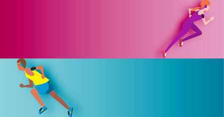 Men and Woman are running use for running event vector illutration