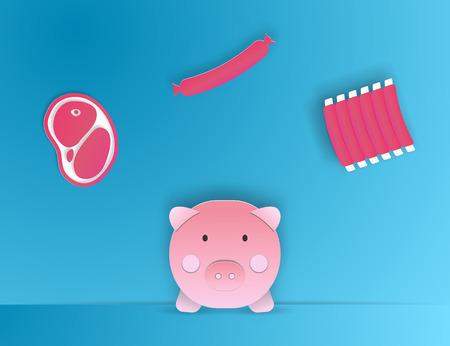 carnes: Ilustración de estilo de arte de papel de producto de cerdo