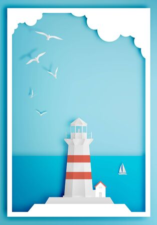 Lighthouse with ocean background frame paper art style illustration Illustration