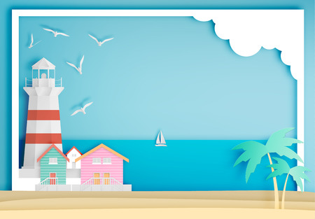 Lighthouse with ocean background frame paper art style illustration Vectores