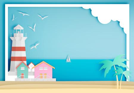 Lighthouse with ocean background frame paper art style illustration Ilustracja