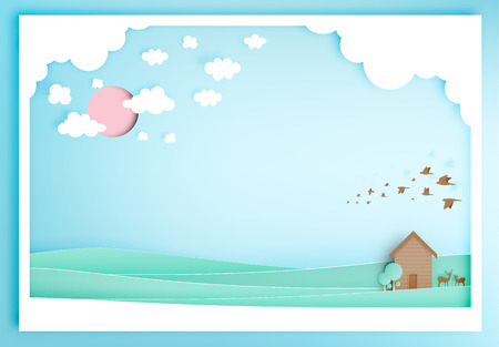 backgroud: Small wood house with moutain backgroud paper art style illustration