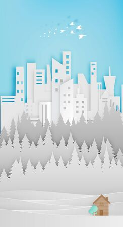 rural house: Small wood house paper art with city and forest background illustration