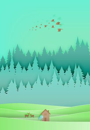 rural house: Small wood house paper art with forest background illustration