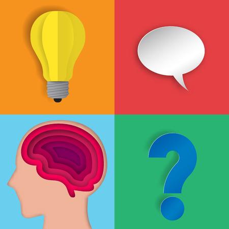 iq: Human brain layer with icon paper art illustration