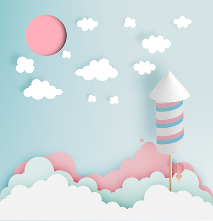 Rocket firework with pastel tone backgroud in paper art style vector illustration Illustration