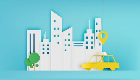 Taxi car service in the city paper art style vector illustration Illustration