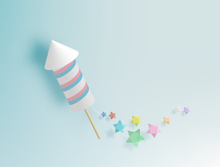 Rocket firework with pastel tone backgroud in paper art style vector illustration Ilustracja