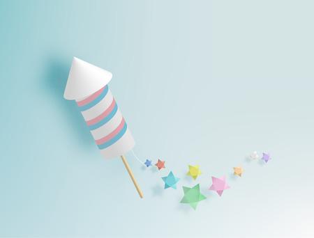 backgroud: Rocket firework with pastel tone backgroud in paper art style vector illustration Illustration