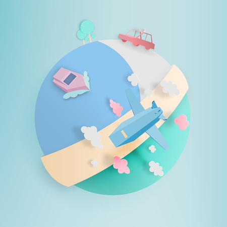 Transportation around the world paper art style vector illustration
