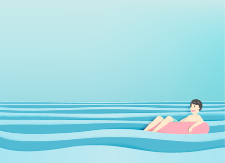 pape: Man floating on the beach with beautiful sea background paper cut style vector illustration Illustration