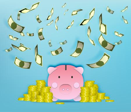 Pig money box with flying money paper art vector illustration