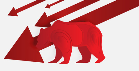 Bear paper art and red arrow paper art for stock market vector and illustration