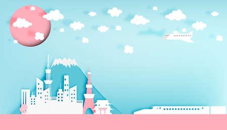 shinkansen: Tokyo japan city paper art style vector illustration Illustration