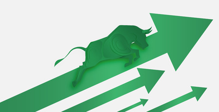 Bull paper art and green arrow paper art for stock market vector and illustration