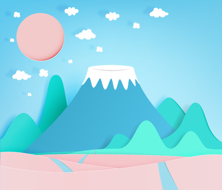 Colorful mountain paper cut style background vector illustration Illustration