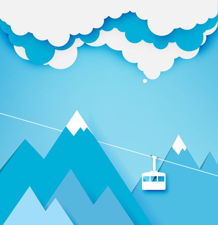 Cable car paper art style with beautiful landscape background vector illustration