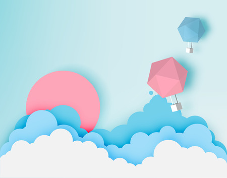 Hot air balloon paper art style with pastel sky background vector illustration