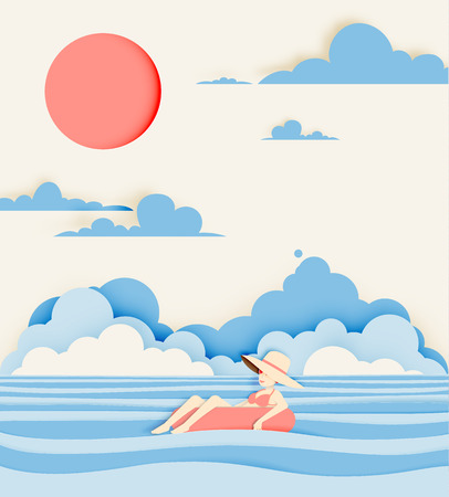 Girl floating on the beach with beautiful sea background paper cut style vector illustration Illustration