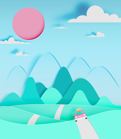moutain: Road trip with car and natural pastel color scheme backgroud paper cut style vector illustration Illustration