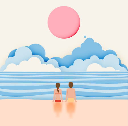Couple on the beach with paper art style and pastel color scheme vector illustratioin