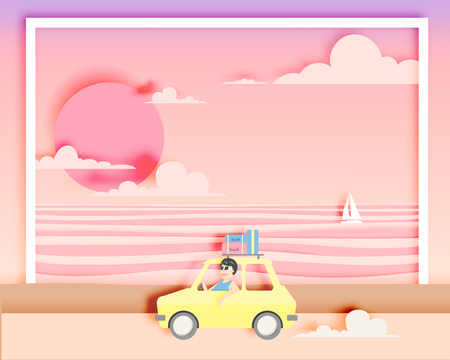 Road trip on the beach with paper art style and pastel color scheme vector illustration