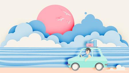 Road trip op het strand met papier kunst stijl en pastel kleurenschema vector illustratie Stock Illustratie