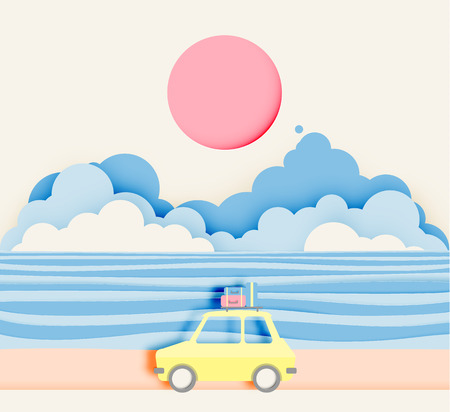 Road trip on the beach with paper art style and pastel color scheme vector illustratioin Illustration