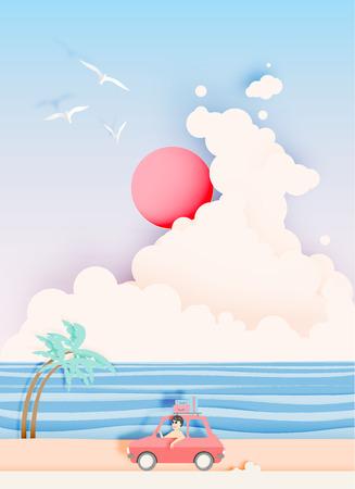 Road trip op het strand met papier kunst stijl en pastel kleurenschema vector illustratie