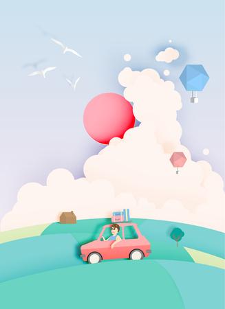 자동차와 자연 파스텔 색 구성표 배경 도로 컷 스타일 벡터 일러스트와 함께 여행