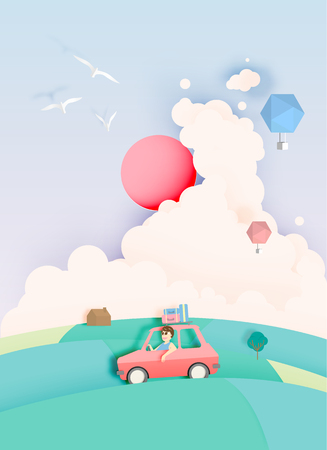 Road trip with car and natural pastel color scheme backgroud paper cut style vector illustration Illustration