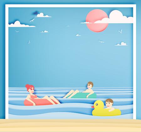 Die Familie, die auf den Strand mit schönem Seehintergrundpapier schwimmt, schnitten Artvektorillustration