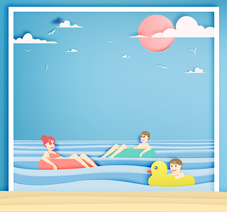 Family floating on the beach with beautiful sea background paper cut style vector illustration
