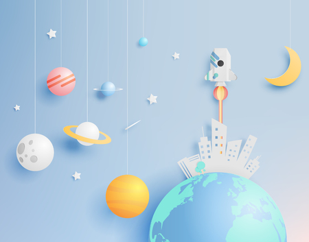 Paper rocket and solar system paper art with pastel tone background vector illustration Vectores