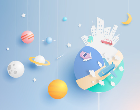 The world and solar system paper art style vector illustration