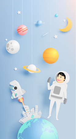 space station: Astronaut with universe background in paper art style vector illustration