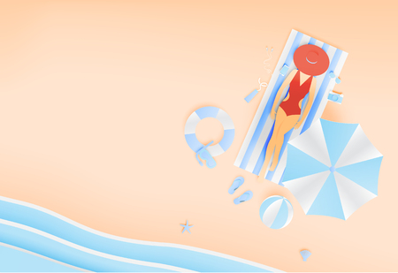 Woman lay down on the beach with beautiful beach  background paper art style vector illustration