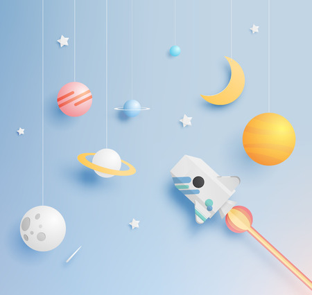 Paper rocket and solar system paper art with pastel tone background vector illustration Illustration