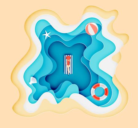 Kobieta położyła się na oceanie z piękną plażą w tle papieru sztuki warstwy stylu ilustracji wektorowych