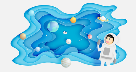 Astronaut with universe background in paper art style vector illustration