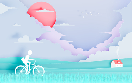 Beautiful natural landscape paper art style with stunning cloud background and pastel color scheme vector illustration