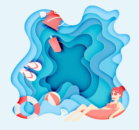 Girl floating on the beach and sea stuff with paper cut layer style vector illustration