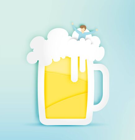 night out: Glass of beer with bubble and funny man in paper cut style vector illustration Illustration