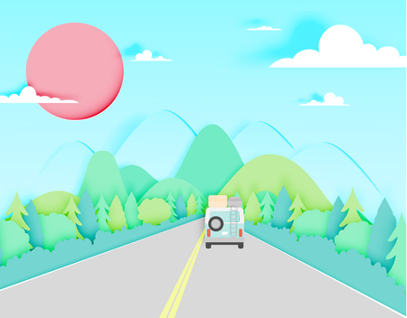 Road trip with car and natural pastel color scheme backgroud paper cut style vector illustration Ilustracja